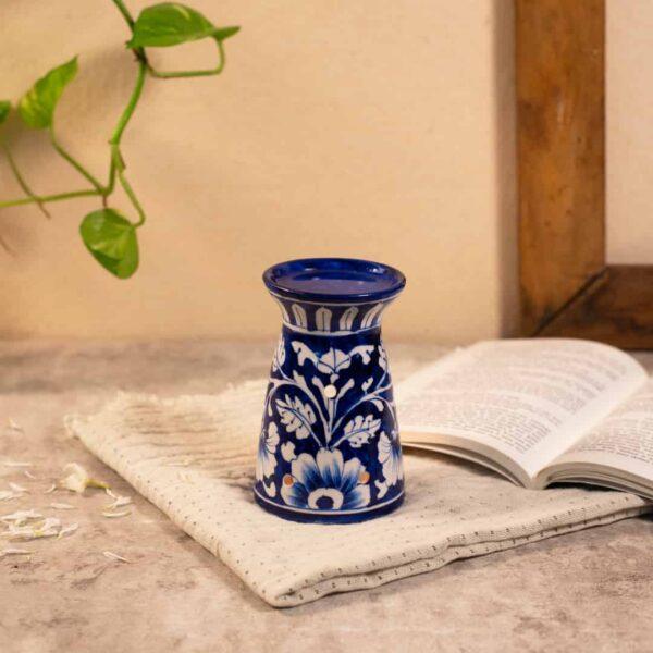 blue pottery essential oil burner blue color