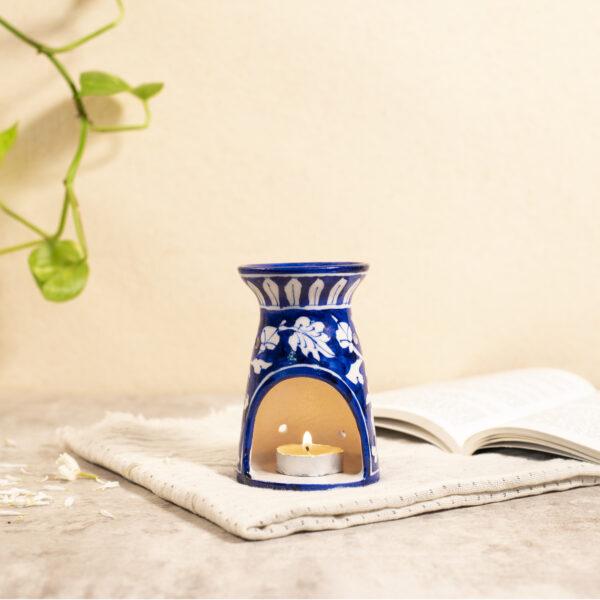 Blue Pottery Oil Burner, Blue Color
