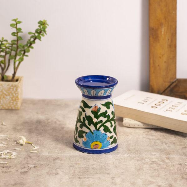 Blue Pottery Oil Burner, White