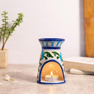 Blue Pottery Oil Burner White
