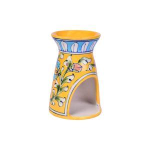 Blue Pottery Oil Burner Yellow