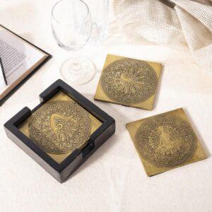 Yoga Brass Coasters | Surya Namaskar Pose | Mandala Pattern