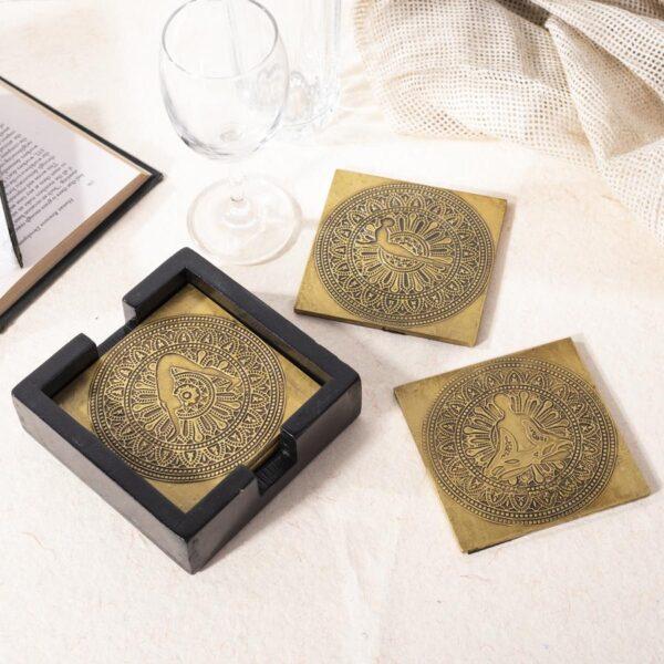 Yoga Brass Coasters   Surya Namaskar Pose   Mandala Pattern