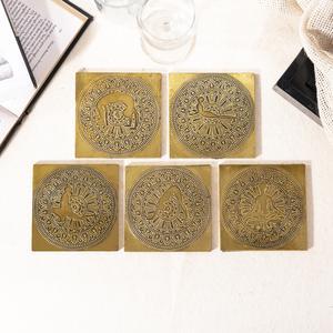 Brass Yoga Coasters with Surya Namaskar Pose   Mandala Pattern