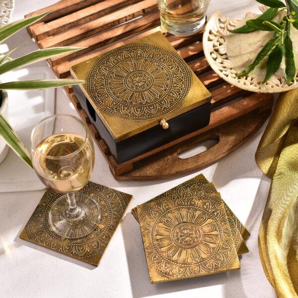Brass Yoga Design Coaster | Mandala Pattern | Set of 6
