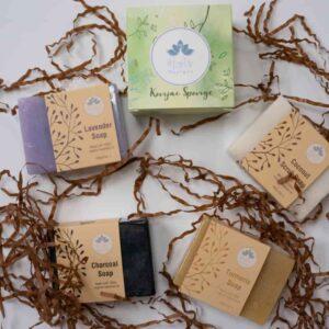 Set of natural soap bars and sponge