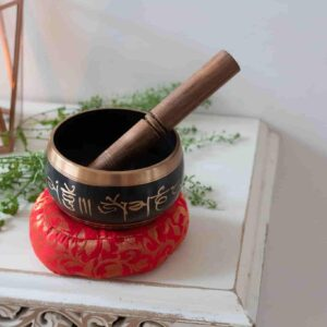 Singing Bowl with candle background