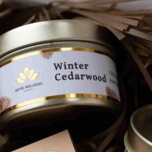 Winter cedarwood natural candle