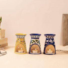 Blue Pottery Oil Burner Set
